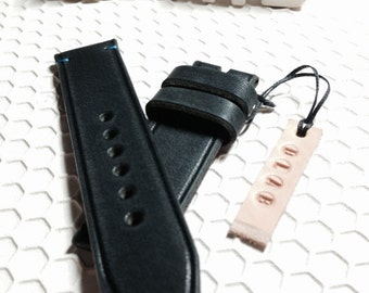 22mm Handmade Black Distressed Leather Watch Band / Strap
