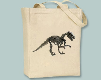 T Rex Dinosaur Skeleton Image Canvas Tote - Selection of sizes available