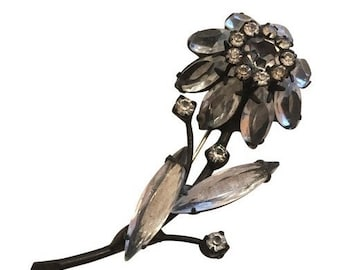 Vintage Jappened Crystal Smokey Gray Flower Brooch Pin