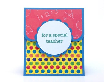 Teacher Appreciation Gift - Teacher Gift Card Holder - School Gift - Teacher Aide Gift - Preschool Gift - 1st Grade Gift - A+ Gift