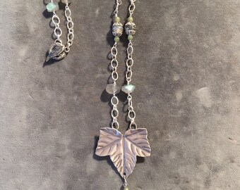 Labradorite Leaf Necklace