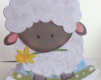Decoupaged Cute Sheep Handmade card