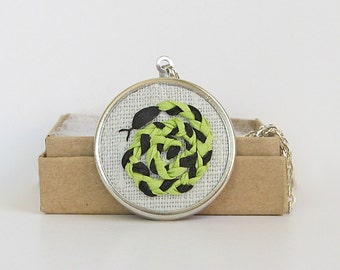 Snake necklace, embroidered reptile jewelry, silk ribbon embroidered coiled snake, black and green snake pendant