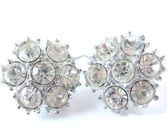 Vintage Rhinestone Clip On Round Earrings - Rhinestone Cluster Jewelry