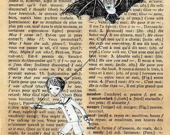 Dictionary Page illustration - Pen and paint, Boy walking Bat, edward gorey, print 5x7