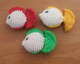 Catnip Cat Toys, Set of 3 Crochet Fish Toys, Organic Catnip Toys, Catnip Fish, Gift for Cat, Kitten Toys, Catnip Toys, Cat Present, Soft Toy