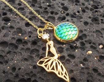 Gold Mermaid Necklace - Mermaid, Beach Jewelry, Beach Wedding, Ocean, Mermaid Tail