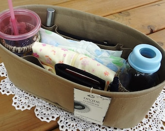 Purse - DIAPER BAG ORGANIZER insert / With stiff wipe-clean bottom and 2 extra options / Sturdy / You choose color & size