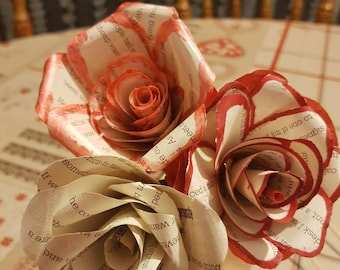 Forever lasting roses upcycled from old book pages