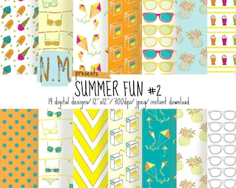 Summer Digital Paper Summer pattern Ice Cream Digital Paper Flying Kite Scrapbooking Printable Pattern Sunglasses Pineapple Juice Sweet