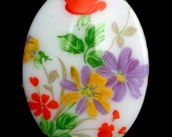 Vintage Glass Cabochon Floral 40x30 Multicolor (1) VIC174