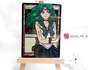 Handpainted  Magic the Gathering MTG altered Sailor Neptune forest