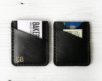 Personalized Leather Wallet, Black Leather Anniversary Gift - BUY IT ONCE - Personalized Initials - Durable, Slim Thin Front Pocket Wallet
