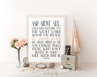 Printable art Roald Dahl quote print Inspirational quote Dark coral art quote print Glittering eyes quote Typography HEART OF LIFE Design
