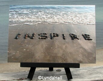 Beach Theme Sentiment INSPIRE Photo on Small Black Wood Easel, Beach Stone Word, unique teacher gift, positive word art, motivating gift