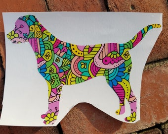 Bright and Colorful Labrador Dog Vinyl Decal