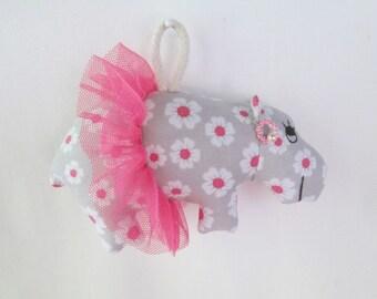 Fabric Ballerina Hippo (Hippopotamus) keychain, ornament, accessory