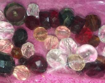 Glass beads in different shapes (round, facet, Floret,...)-15gramm Bag