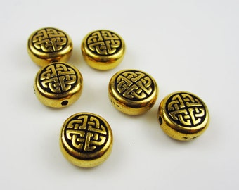 20 Gold Tierracast Round Celtic Beads