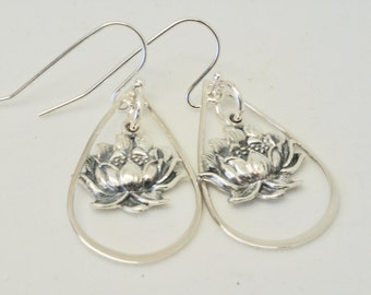 Gorgeous Sterling Silver Lotus Earrings, Lotus Flower Earrings, Floral Earrings,  Gift for Yoga Teacher Training Graduation, Large Lotus