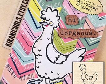 Chicken Digital Stamp - Digistamp - Easter Digital Stamp - Coloring Pages - Stamp - Printable Sticker - Clip Art - Printables