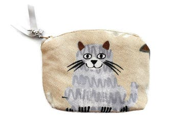 Gray Tabby Cat Change Purse Pets Coin Purse Cat Zipper Bag Cat Bag Cat Lover Gift Animal Coin Purse Small Purse Cat Accessory made in France