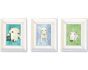 DIGITAL Bullterrier nursery-bullterrier puppy postcard sized instant download-jpg-3 piece set illustrations