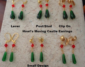 Howl's Moving Castle Earrings in Gold Plate ( one pair of earrings only )
