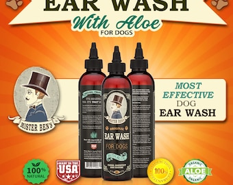 Most effective Ear Wash for dogs - Mister Ben's 8 0z Original Ear Wash w/Aloe - Fast Relief.  Free ebook & 1 Dollar donation to Rescue