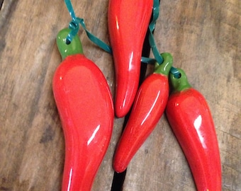 CERAMIC CHILE PEPPERS on string