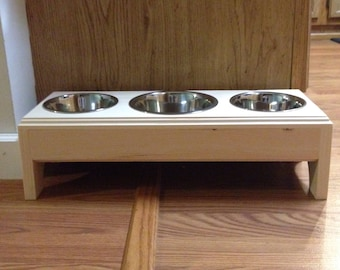 Raised 3 Bowls Pet Feeder,1 (4 cup)and 2(2 cup) Handmade Wooden For Small  Dogs