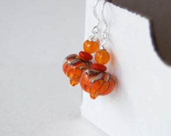 Orange Earrings, Lampwork Glass Earrings, Beaded Earrings, Bright Colorful Earrings