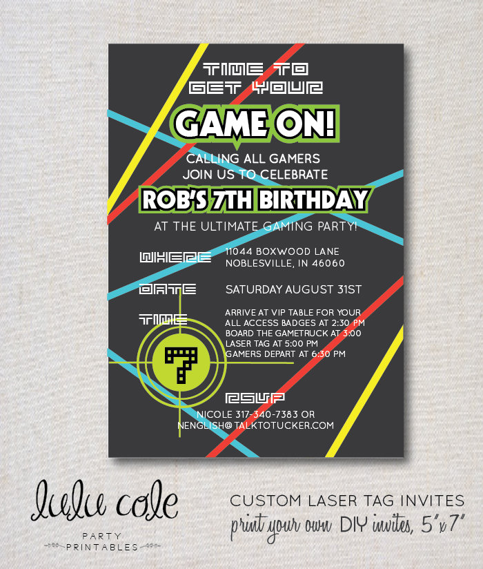 Laser Tag Party Invitation Glow Party Gamer Party