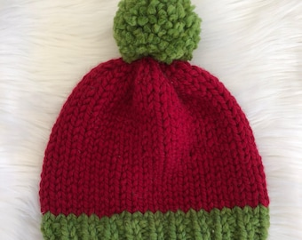Knit Santa Hat Green Pom Pom Red Christmas Hat Red and Green Knit Hat