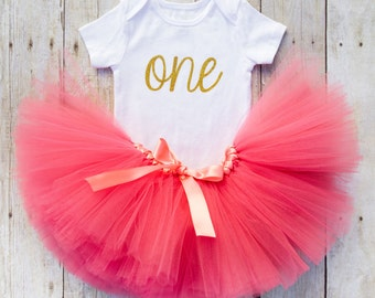 One Year Old Girl Birthday Outfit...Baby Girl First Birthday Tutu Outfit...Coral and Gold Tutu...First Birthday Girl...Gold First Birthday