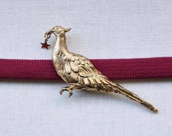 "OBIDOME  ""Pheasant with a Star"" Obi Brooch with Obijime cord Japanese kimono accessory tin casting"