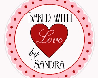 SET OF 24, Baked With Love Labels, Baking Stickers, Cookie Stickers, Personalized Stickers, Kitchen Stickers, Baking Labels, Cake Pops (476)