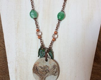 Clay Stone Bird Nest Necklace