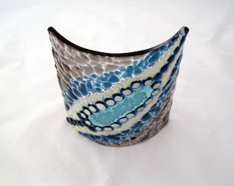 Ocean Rock Fused Glass Candle Table Sconce 2010