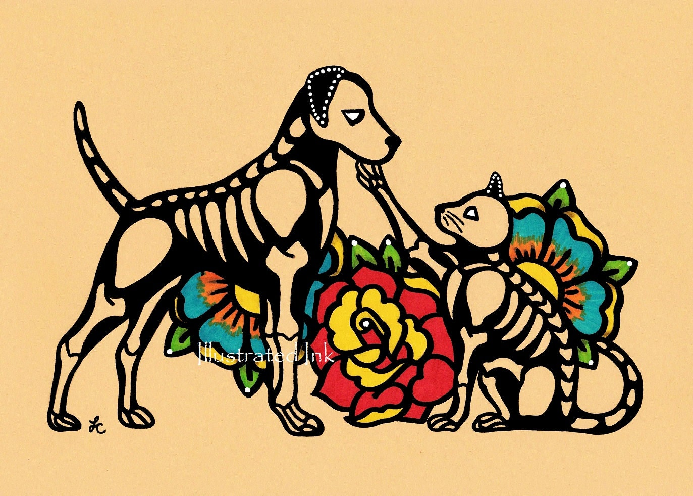 Dia de los Muertos DOG and CAT Day of the Dead Art Print 5 x