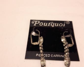 Vintage Pourquoi - Made in Milan - Rhinestone Dangle Earrings - 1970s - Wedding/Anniversary/Birthday/Mother's Day