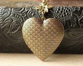 Large Heart Locket Necklace, Long Chain locket Necklace, Large antiqued brass secret message locket, photo locket jewelry keepsake gift N187
