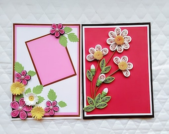 Set of 2 Quilling Card /Mothers day/ Birthday Card / Thank You/ Anniversary/Miss You/Love Card/Handmade Quilled Card