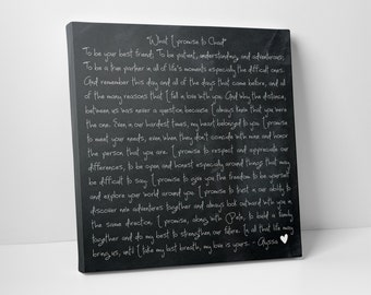 Second Cotton Anniversary Gift, Wedding Vows on Canvas
