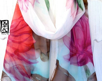 Hand Painted Silk Scarf, Scarf Woman, Chiffon Scarf, Japanese Silk Scarf, Floral Scarf, Tranquility Lotus, Silk Chiffon Scarf, Made to order