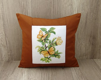 Mustard pillow cover Yellow cross stitch summer cushion Summer butterfly embroidery throw 16 x 16 inch (40 x 40) ~ mustard sofa pillow case