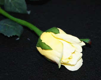 1 Yellow Princess Rose Bud - Barely Blooming - Artificial Flowers, Silk Roses - PRE-ORDER