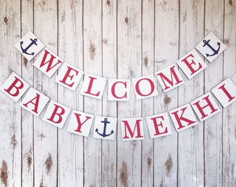 Nautical baby shower decorations, nautical baby shower banner sign, welcome baby banner, welcome baby sign, naitical shower decor