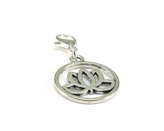 SALE Lotus Flower Zipper Pull, Lotus Flower Purse Charm, Silver Clip On Charms