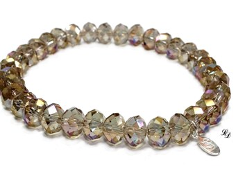 Crystal Stretch Bracelet, womans bracelet, smokey crystal, beaded bracelet, party, rocker, contemporary, boho, rocker, elegant
